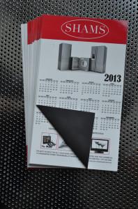 A custom printed magnet calendar