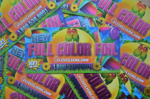 An example of full color foil flyers, foil printing