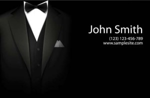 A silk laminated formal business card