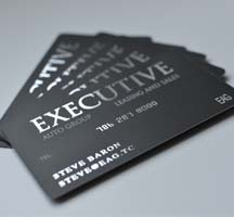 Silk laminated business cards with silver foil stamping, EliteFlyers.com
