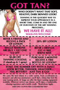 a flyer for tanning salons