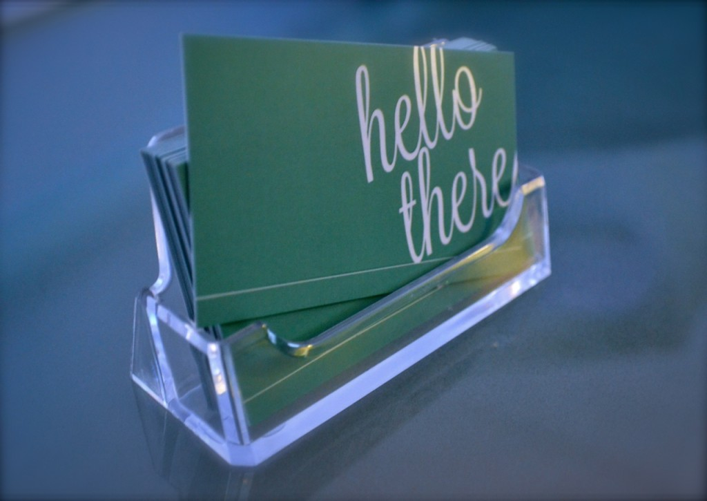 Business card holder giveaway