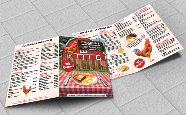 Custom Menus Printed By EliteFlyers.com
