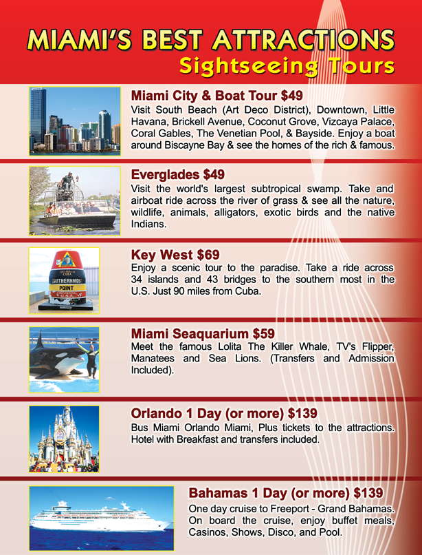 Flyer for tours in Miami