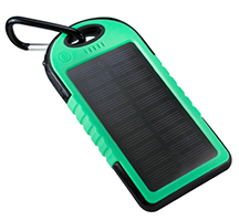Solar Powerbank with 5,000mAh Capacity Custom Screen Printed in One Color on A Colored Powerbank of Your Choice.
