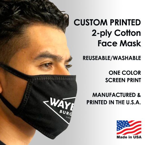 2-Ply Cotton Face Mask Custom Printed