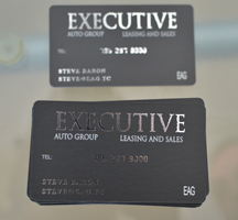 Silk rouded corner business cards with silver stamping